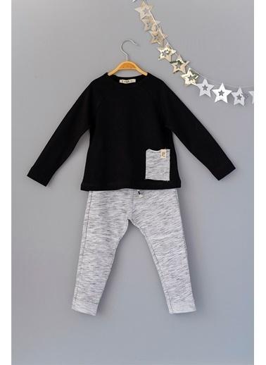 Cigit Yan Cepli T-shirt ve Melanj Pantolonlu Takım Siyah